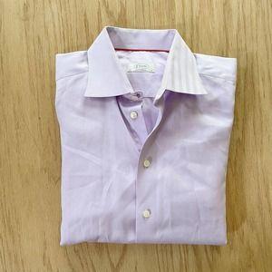 Mens ETON Contemporary Fit Spread Collar Pink Lilac Dress Shirt 43 17 XL